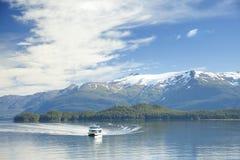 Boat in Tracy Arm Fjord Alaska Stock Photo