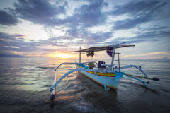 Boat. Traditional fishing boats on a beach in Lovina on Bali. Indonesia Royalty Free Stock Photos