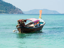 Boat. Traditional local thai long tail boat in beautiful blue sea in summer. Lipe Island, Thailand Royalty Free Stock Photo