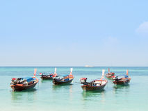 Boat. Traditional local thai long tail boat in beautiful blue sea in summer. Lipe Island, Thailand Stock Image