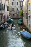 Boat traffic. In the canals of Venice Italy Royalty Free Stock Photography