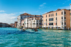 Boat traffic in front of the Gritti Canal Stock Photography