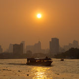 Boat traffic on the river, Bangkok city. Stock Image