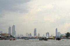 Chao phraya river. Boat traffic for tourists watch the two banks of the Chao phraya river Stock Photos