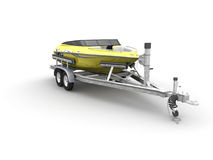 Boat and trailer. 3d render of a boat and trailer on white background stock illustration