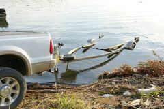 Boat trailer. Rear section of truck with boat trailer stock photo