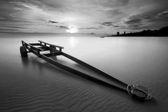 The boat trailer at Kon Ao Beach in black and white, Rayong, Tha Royalty Free Stock Photo