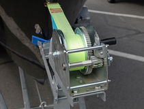 Boat trailer winch with blue rope Stock Images