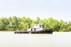 Boat transport on river, asia Royalty Free Stock Photo