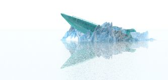 Boat trapped in ice. Illustration of small boat trapped in ice on frozen sea, white background Royalty Free Stock Photo