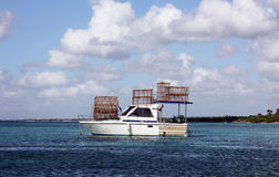 Boat with traps for crabs Royalty Free Stock Image