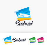 Boat travel vector logo design Stock Photography