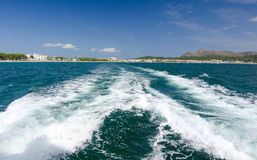 Boat traveling on Majorca Stock Photo