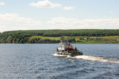 Boat traveling on Volga river Stock Image