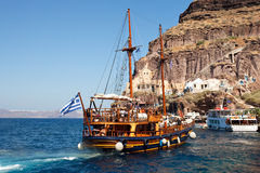 The boat travelling in Greece Royalty Free Stock Image