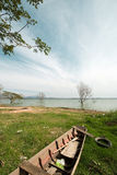 Boat and tree in Bangpra Reservior,Thailand Stock Photo