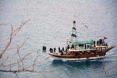 Boat trip of antalya. Boat trip by Mediterranean sea on Antalya coast stock images