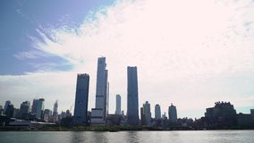 Boat trip around new York city, USA. Hudson Bay and the towers of Midtown.