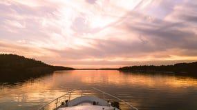 Boat trip in autumn stock photo