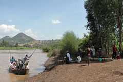 Boat trip on the Blue Nile in Ethiopia. 04 November 2012 Royalty Free Stock Photos