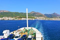 Boat trip blue sea. Ferry boat depart from Igoumenitsa port.It is a coastal city in northwestern Greece. It is the capital of the regional unit of Thesprotia Royalty Free Stock Photography