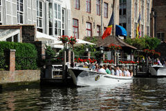 Boat trip. A canal boat trip in Brugge, Belgium royalty free stock photography