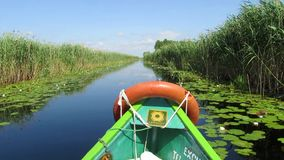 Boat trip in the Danube delta, Romania. SULINA - JUNE 25: Tourists take boat trip with a local ranger in the Danube Delta Biosphere Reserve. Danube delta is the stock video footage