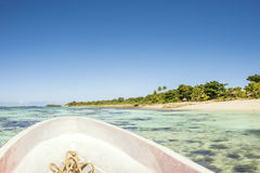 Boat Trip Through The Fijian Crystal Clear Ocean. Who wants to go fishing in Fiji Stock Photo