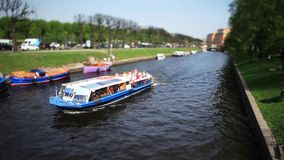 Boat trip Film Tilt. Waterbus river Moika St. Petersburg Film Tilt stock video