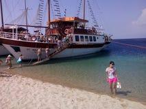 boat trip greece summer sunny day Stock Photos
