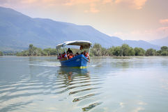 Boat trip in Greek lake Royalty Free Stock Images