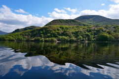 Boat trip in killarney ireland. With mountain reflexion on Lough Leane Royalty Free Stock Image