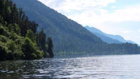 Boat trip on Lake Teletskoye in the Altai Republic stock video footage