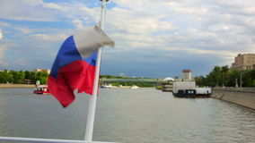 Boat trip in moscow. Russian flag stock video