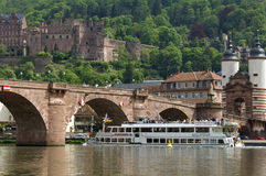 Boat trip on the Neckar River, Heidelberg, Germany. Germany: One of the tourist attractions of this holiday resort is the Old Bridge over the river the Neckar Stock Image
