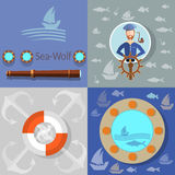 Boat trip, ocean cruise, lifebuoy sailor, vector icons Stock Photos