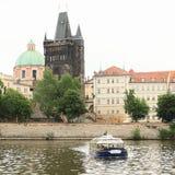 Boat trip in Prague royalty free stock image
