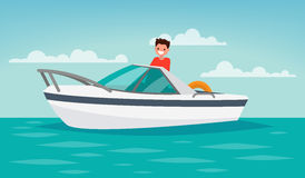Boat trip. Recreation. The man controls the boat. Vector illustr. Ation of a flat design Stock Photo