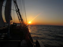 Sunset in Boat, Santorini Royalty Free Stock Image