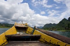 Boat trip on the Son river to the Phong Nha Cave in Phong Nha-Kẻ Bàng. Stock Images