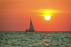 Boat trip at sunset Royalty Free Stock Photography