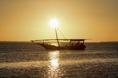 Sunset in zanzibar royalty free stock photography