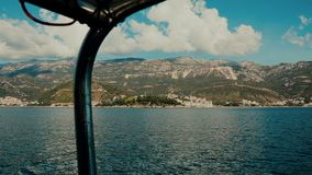 Boat trip to Adriatic islands, Montenegro. Inside boat stock video footage