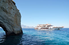 Boat trip to blue caves at Zakynthos, Greece Royalty Free Stock Photos