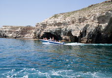 Boat trip to caves in Tarhankut Royalty Free Stock Image