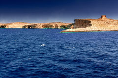 Boat trip to Gozo Island, Malta. Gozo Island in Malta, view from the sea Royalty Free Stock Photo