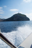 Boat trip to the island of Cabrera. With spray royalty free stock images