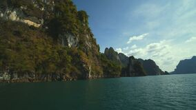 Boat trip to Khao Sok National Park. Thailand stock video footage