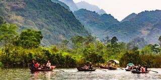 Boat trip to Perfume Pagoda, Chua Huong, North of Vietnam. Perfume Pagoda royalty free stock photos