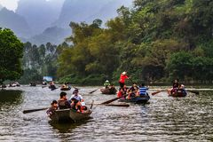 Boat trip to Perfume Pagoda, Vietnam. North of Vietnam. One of the best destinations in summer stock photography